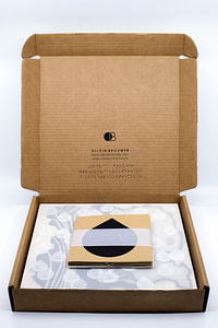 Image description: An open cardboard box with Olivia Brouwer's logo, website, and Instagram printed on the back in English text and Braille. The CONTACT artwork and booklet are displayed inside the box.