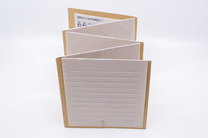 Image description: A back angle of the open accordion book. There is a translucent vellum slip with embossed lines for journalling. Braille label makers may be used to emboss Braille stickers to adhere to this page.